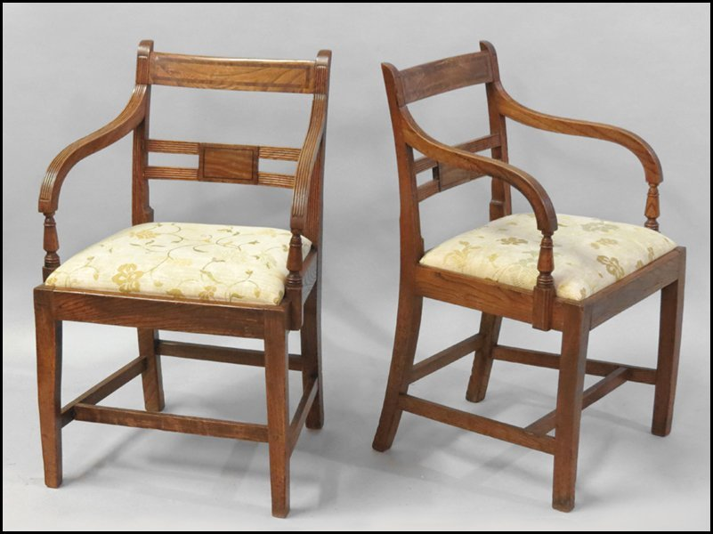 1101012: PAIR OF ENGLISH OAK OPEN ARMCHAIRS.