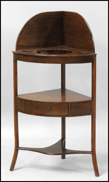 1101014: ENGLISH MAHOGANY CORNER WASHSTAND.