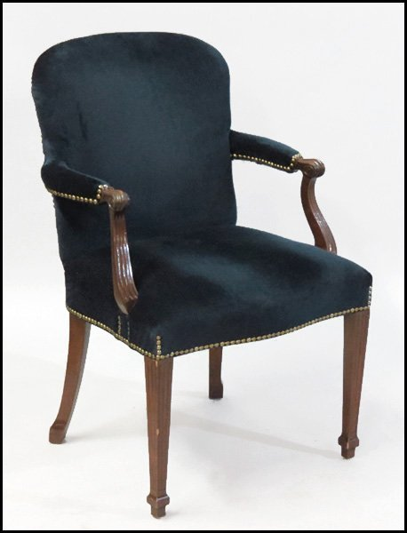 1101015: SET OF FOUR BAKER UPHOLSTERED OPEN ARMCHAIRS.