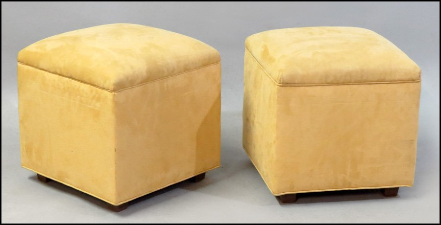 1101021: PAIR OF ULTRA SUEDE UPHOLSTERED STOOLS.
