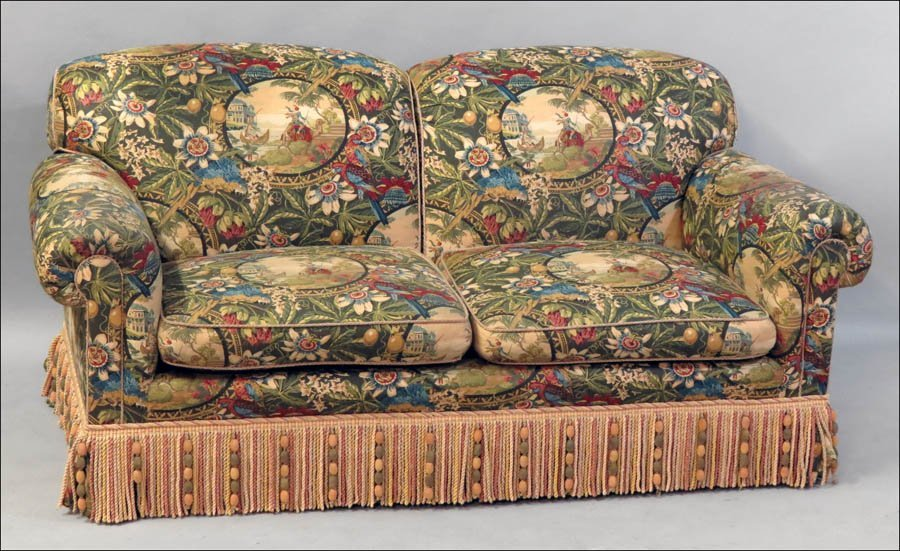 1101024: UPHOLSTERED TWO CUSHION SOFA.