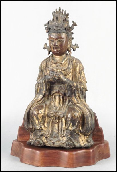1103057: CHINESE GILT BRONZE QUAN YIN.