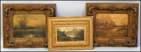 1106025: GROUP OF THREE 19TH/20TH CENTURY FRAMED OIL PA