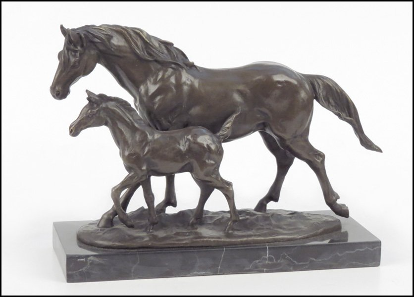 1112007: PATINATED BRONZE OF HORSES IN STRIDE.