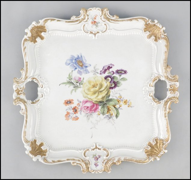 1112016: MEISSEN PAINTED AND GILT PORCELAIN PLATTER.
