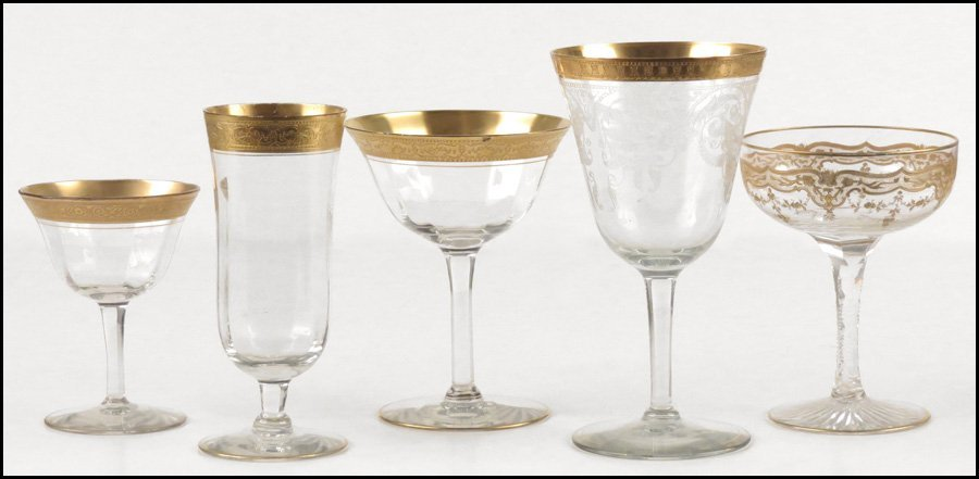 1112020: AN ASSEMBLED GROUP OF GILT STEMWARE.
