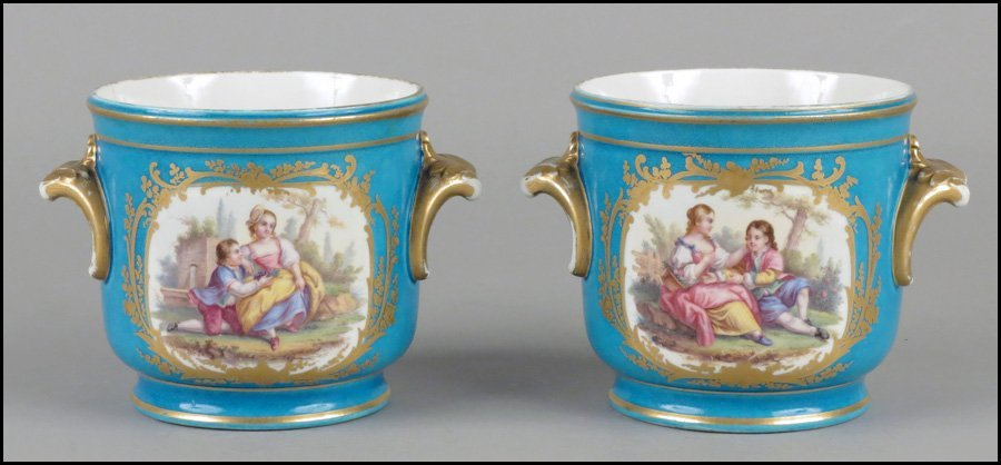 1112040: PAIR OF SEVRES PAINTED AND GILT PORCELAIN CACH