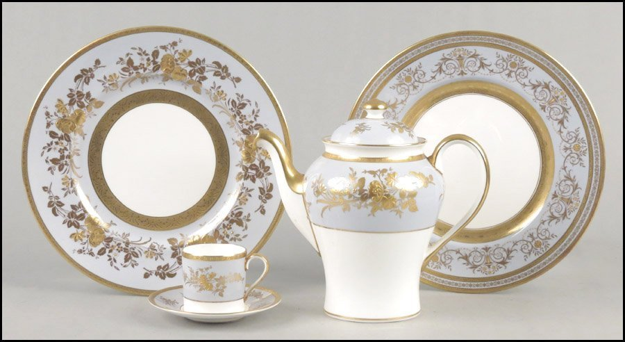 1112041: MINTON GILT PORCELAIN TABLE SERVICE IN THE AMB