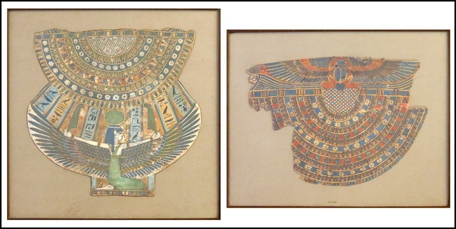 1112044: TWO EGYPTIAN FRAMED PAPYRUS PAINTINGS.