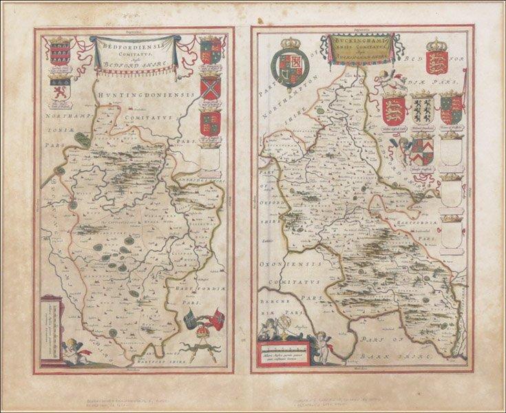 1116153: JOAN BLAEU BEDFORDSHIRE AND BUCKINGHAM MAPS.