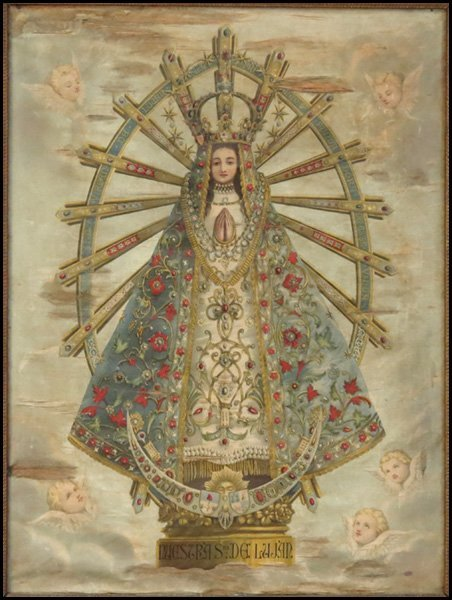 1116154: OUR LADY - FRAMED ICON ON SILK.