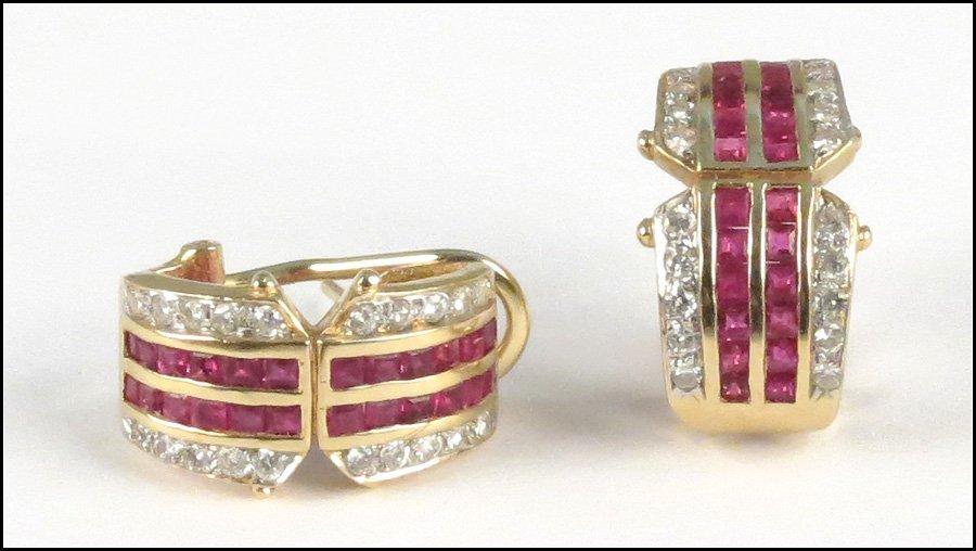 1117353: RUBY AND DIAMOND EARCLIPS.