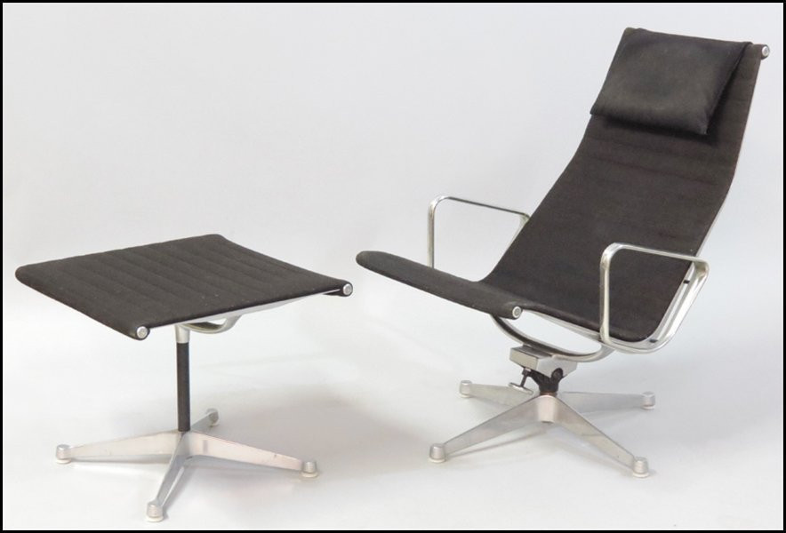 1121002: EAMES ALUMINUM GROUP LOUNGE CHAIR AND OTTOMAN.