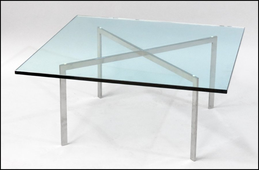 1121009: MIES VAN DER ROHE GLASS TOP COCKTAIL TABLE.