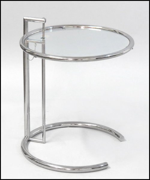 1121012: EILEEN GRAY CHROME AND TEMPERED GLASS SIDE TAB