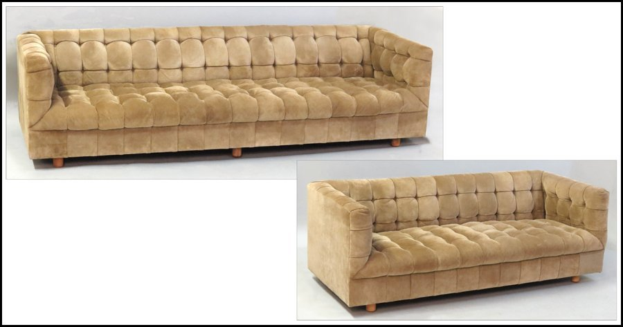 1121019: SUEDE UPHOLSTERED SOFA.