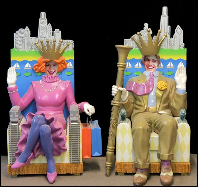 1121022: TWO FIBERGLASS AND WOOD 'KING AND 'QUEEN' SEAT