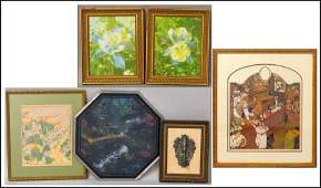 1126132 GROUP OF SIX ASSORTED FRAMED DECORATIVE WORKS