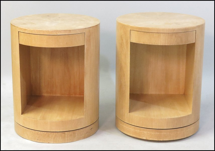 1131002: PAIR OF BLONDE WOOD NIGHT STANDS RAISED ON A S