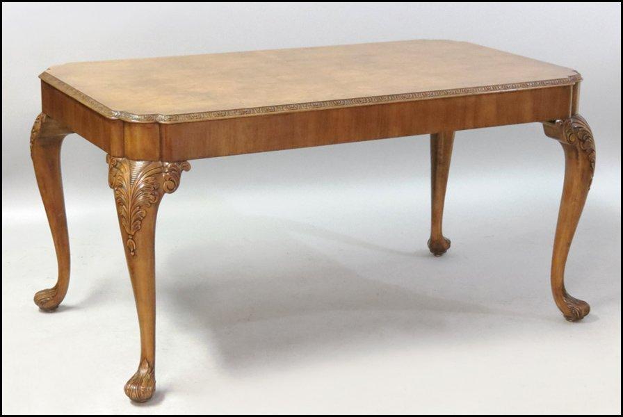 1131008: BURL MAHOGANY DINING TABLE.
