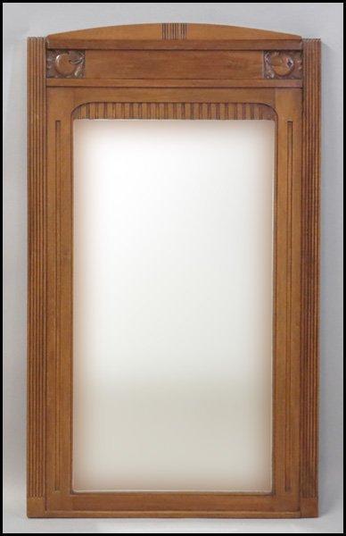 1131019: ART DECO STYLE CARVED OAK MIRROR.