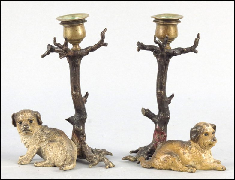 1142001: PAIR OF CONTINENTAL COLD PAINTED BRONZE CANDLE