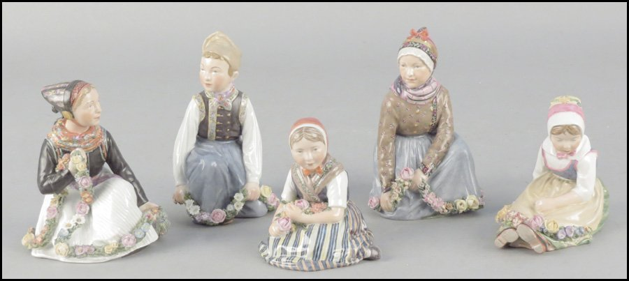 1142005: FIVE ROYAL COPENHAGEN PORCELAIN FIGURES.