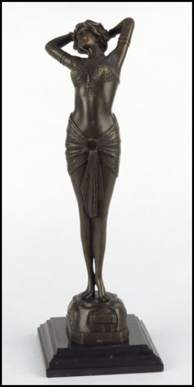 ART DECO STYLE BRONZE FEMALE FIGURE.
