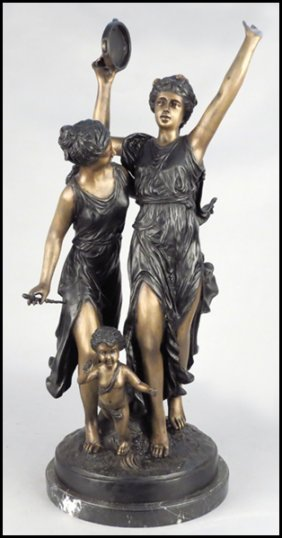 BRONZE FIGURAL GROUP.
