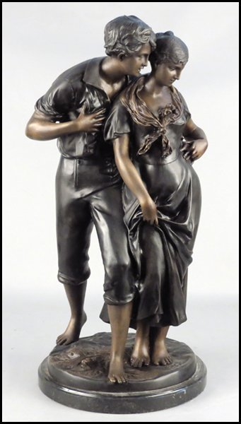 1142083: BRONZE MALE AND FEMALE FIGURAL GROUP.