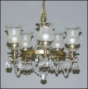 GLASS AND BRASS FIVE-LIGHT CHANDELIER.