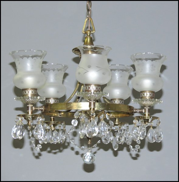 1142148: GLASS AND BRASS FIVE-LIGHT CHANDELIER.