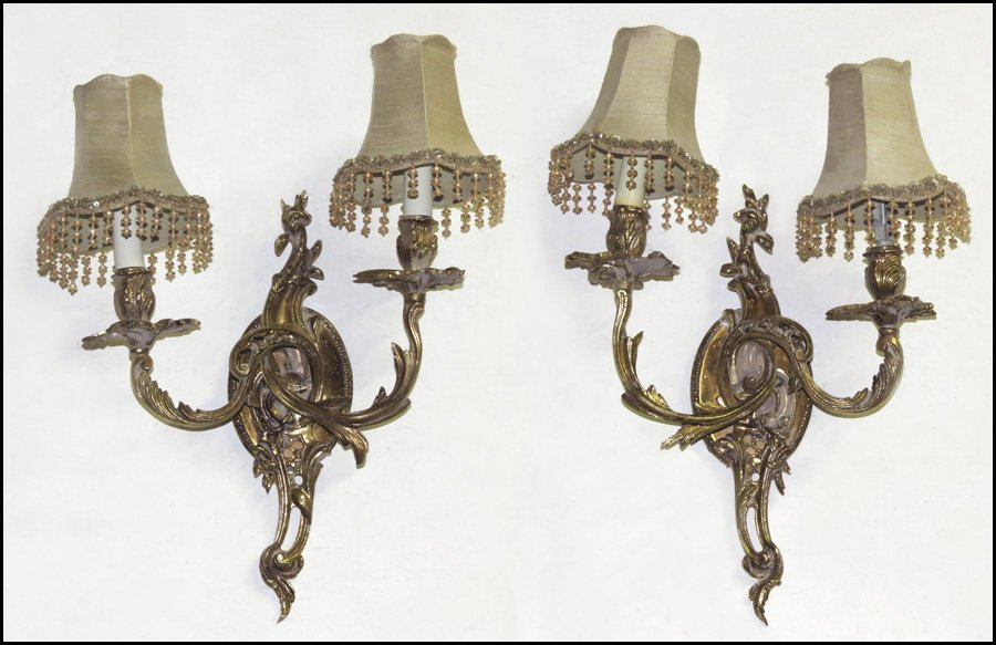 1142151: PAIR OF GILT BRONZE TWO-LIGHT SCONCES.