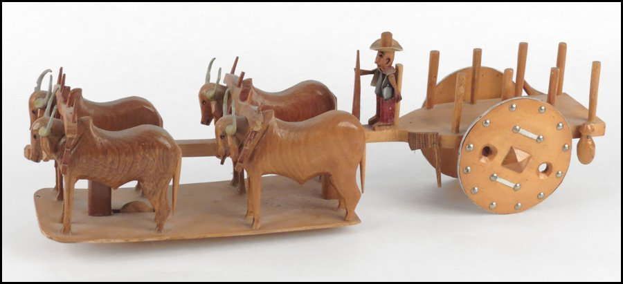 1142160: FOLK ART CARVING, OXEN AND WAGON.