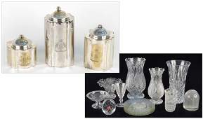 1142164 GROUP OF THREE SILVERPLATE CANNISTERS