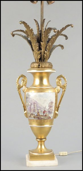 1142168: CONTINENTAL GILT AND PAINTED PORCELAIN URN.