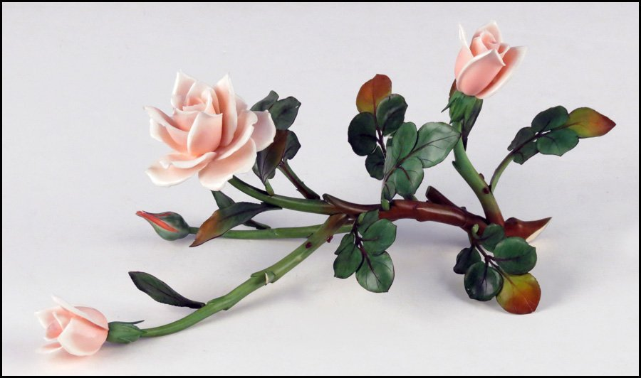 1143004: JAPANESE CARVED AND PAINTED IVORY FLORAL COMPO