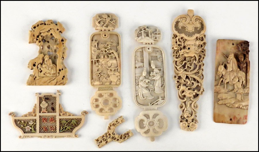 1143020: COLLECTION OF CARVED AND RETICULATED IVORY PAN