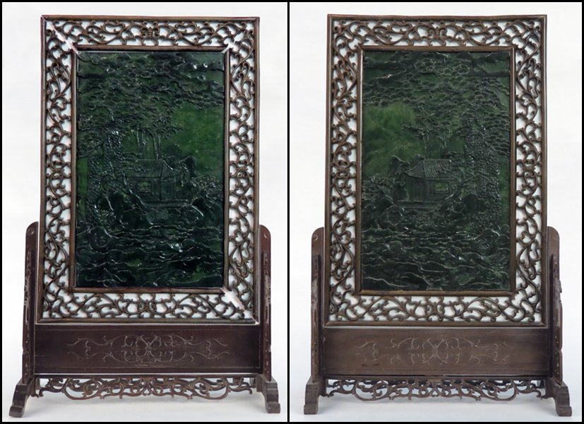 1143089: PAIR OF CHINESE CARVED JADE TABLE SCREENS.