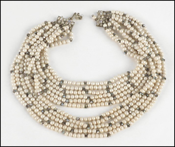 497024: MIRIAM HASKELL ELEVEN-STRAND FAUX PEARL AND RHI