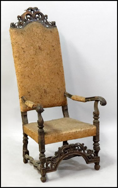 1151016: ENGLISH CARVED MAHOGANY THRONE CHAIR.