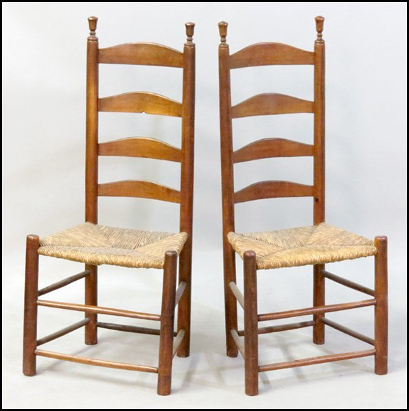 1151021: PAIR OF AMERICAN LADDER BACK SIDE CHAIRS.
