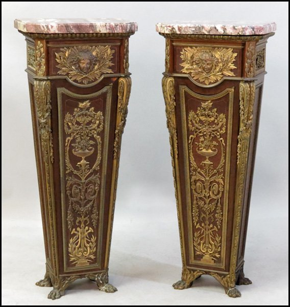 1151024: PAIR OF FRENCH BRONZE MOUNTED PEDESTALS.
