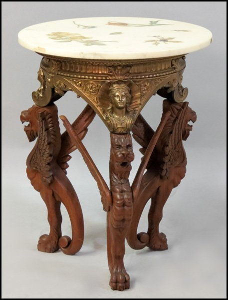 1151027: EMPIRE STYLE MARBLE TOP SIDE TABLE.