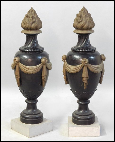 1151028: PAIR OF FRENCH PAINTED CAST IRON GARDEN ORNAME