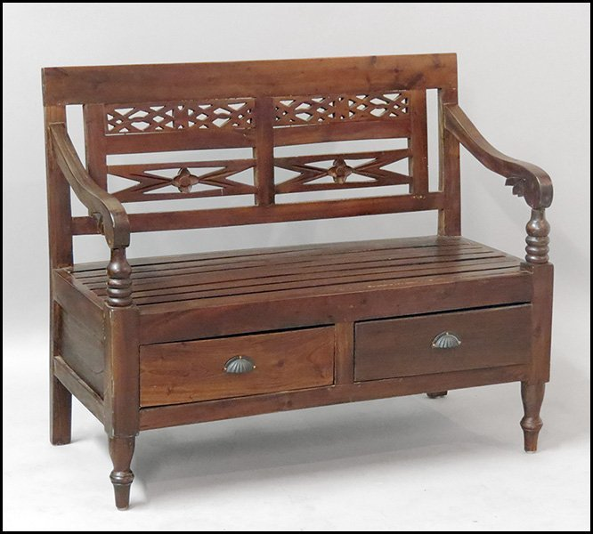 1171001: BALI CARVED WOOD BENCH.