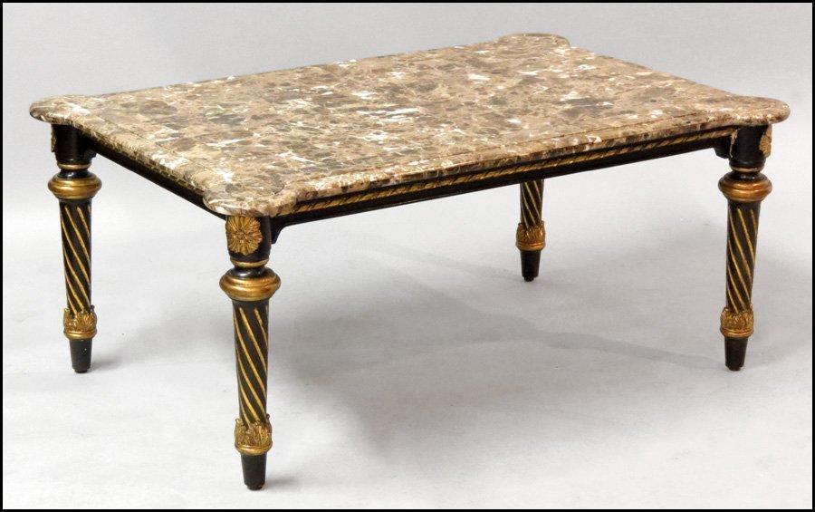 1171006: CONTEMPORARY PARCEL GILT COCKTAIL TABLE.