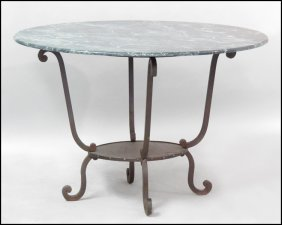 1171014: MARBLE TOP IRON TABLE.