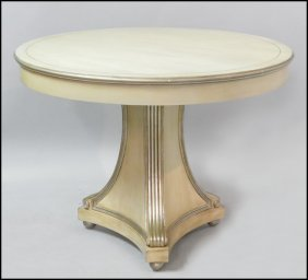 PAIR OF CONTEMPORARY ROUND PEDESTAL TABLES.
