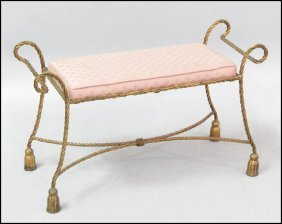 GILT METAL ROPE TWIST BENCH.
